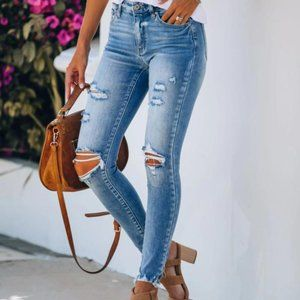 Distressed Fringe Casual Jeans